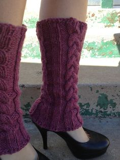 cabled legwarmers by AMidsummersKnitDream on Etsy