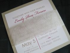 Square wedding invitation with paisley vellum band.  A chic Chicago wedding!