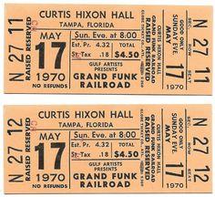 Grand Funk Railroad Concert Ticket Grand Funk Railroad, Piece Of Music, Concert Tickets, Better One, Rock Music, The Fool, Hard Rock, Rock Bands, Musicians