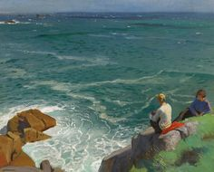 Dame laura knight - the green sea, lamorna (two girls on the cliffs)