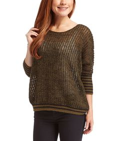 Love this Highland Green & Black Sheer Ribbed Three-Quarter Sleeve Sweater by kersh on #zulily! #zulilyfinds