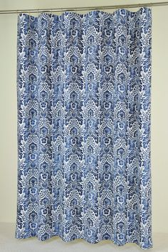 Captivating 72 X 78 LONG Navy Damask Shower Curtain EXTRA LONG By PondLilly