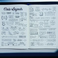 date headers and lettering bullet journal planner Bullet Journal Inspo, My Journal, Journal Pages, Bullet Journal Headings, Bullet Journal Goals Layout, Bullet Journal Ideas Handwriting, Bullet Journal Layout Templates, Daily Journal, Bullet Journal Labels