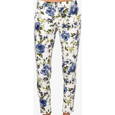 FOREVER 21 Rose Print Skinny Jeans ($20) ❤ liked on Polyvore