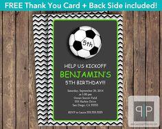 Soccer Birthday Invitation Boy Soccer Invitation by PaperPapelShop