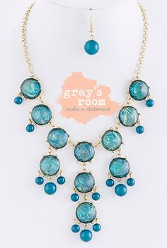 BRAND NEW - Turquoise Bubble Necklace - JCrew Inspired Statement Necklace