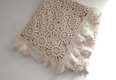 French Vintage Hand Crocheted Bed Coverlet by Vintagefrenchlinens