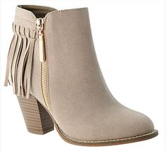 """Color: Taupe Fringe Booties for Women -Synthetic I-mported -manmade sole -Shaft measures approximately 4.5 from arch -Platform measures approximately 0.25"""" -Side zipper for easy slip on wear -Fringe d"""