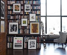 bookshelves and art display