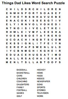 Enjoy this free and fun fun Things Dad Likes word search puzzle. When completed you can read an interesting fact about dads from the remaining letters of the dad word search puzzle Father's Day Activities, Senior Activities, Community Activities, Summer Coloring Pages, Flower Coloring Pages, Kids Coloring, Father's Day Words, Father's Day Games, Unscramble Words