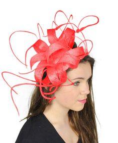 Red  Kremena Fascinator Hat for Weddings Races by Hatsbycressida, $100.00