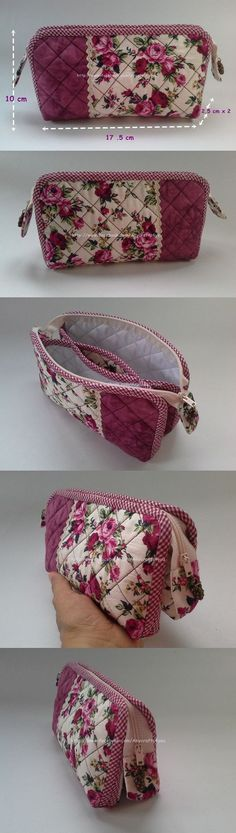 New patchwork necessaire tutorials 37 Ideas Patchwork Bags, Quilted Bag, Pouch Bag, Tote Purse, Pouches, Sacs Tote Bags, Purse Tutorial, Purse Patterns, Fabric Bags