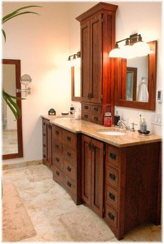craftsman bathroom   Custom design craftsman bathroom vanity, matching mirrors, tub panel ...