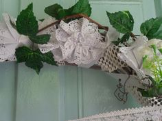 Fragment of a wreath flower made of paper napkin