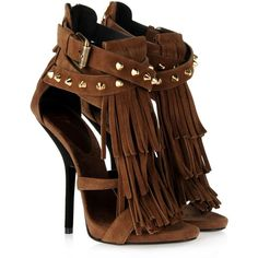 Giuseppe Zanotti Sandals Women (€520) ❤ liked on Polyvore featuring shoes, sandals, heels, sapatos, chaussure, high heel shoes, ankle strap high heel sandals, brown fringe sandals, brown leather shoes and brown leather sandals