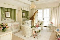 Love this nursery. Light green, soft pink, and cream.