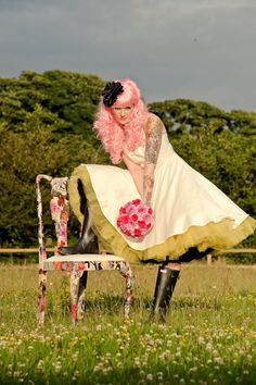 Tattooed Bride Styled shoot. Just thought this was awesome cause I'm totally keeping my pink hair for my wedding.
