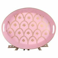 """Add a distinctive touch to your credenza or console table with this hand-painted upcycled metal tray, featuring a Napoleonic bee motif and bun feet.   Product: TrayConstruction Material: Upcycled metalColor: PinkDimensions: 3.5"""" H x 20"""" W x 15"""" D"""