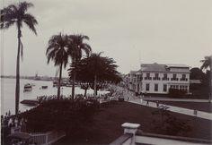 Schip op het het water vanaf de stadszijde van Paramaribo 1920