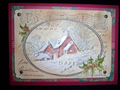 Christmas card I created using the snowy postcard stamp from stampendous. Loved adding the antiquing with a sponge and Carmel ink. Looks vintage!