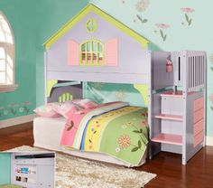 Princess Reversible Stairway Loft Bunk Bed in Lavender, Pink and Lime. Includes FREE SHIPPING nationwide . http://www.bunkbedkingdom.com/princess-reversible-stairway-loft-bunk-bed-lavender-pink-lime/