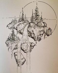 Landscape Sketch, Landscape Drawings, Landscape Art, Illustration Art Drawing, Ink Illustrations, Pencil Art Drawings, Art Drawings Sketches, Sketches Of Nature, Tattoo Sketches