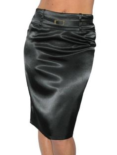 ICE (2328) Stretch Black Satin Pencil Skirt-10 Ice. $25.99