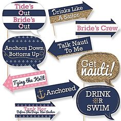 Funny Bachelorette Party Last Sail Before The Veil Photo Booth Props - Nautical Bridal Shower Party Photo Booth Prop Kit - 10 Props & Dowels Bachlorette Party, Bachelorette Cruise, Nautical Bachelorette Party, Nautical Bridal Showers, Bachelorette Party Decorations, Bachelorette Ideas, Nautical Party, Nautical Wedding, Party Favors