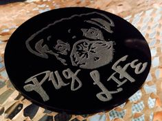 PugLife coasters laser engraved etched pug Pug by DreamADesign Pug Life, Laser Engraving, Laser Cutting, Coasters, Carving, Personalized Items, Unique Jewelry, Handmade Gifts, How To Make