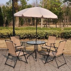 Homcom Outsunny 4 Seater Dining Set Wtih Parasol   Grab this Cheap Gift. Take a look LUXURY HOME BRANDS and buy this offer Now!