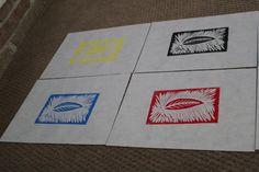 Leaf Wood block print on 9x12 paper by HeatherKingArt on Etsy, $5.00