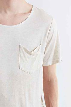 Feathers Angled Split Hem Scoop Neck Tee - Urban Outfitters