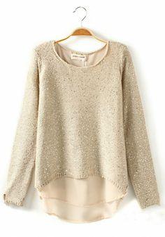 Beige Plain Sequin Long Sleeve Wool Blend Sweater