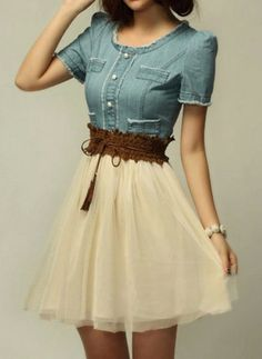 Elegant Scoop Neck Short Sleeve Denim Splicing Chiffon Dress For Women,
