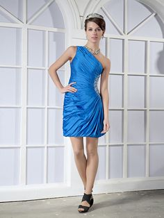 Short / Mini Sexy One Shoulder Beading Blue Homecoming Dress $131.99