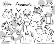 Pixie: Prudence paper doll to colour | Paper Thin Personas