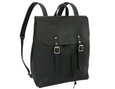 Loving this black leather rucksack with buckles made in UK #BritishDesign #MadeinEngland