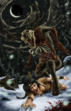 The Wendigo isn't just some lame Marvel comics villain. It's also a creepy Native American cannibal monster. Although this rendition of the Wendigo isn'. Who What Where Wendigo Creature Feature, Creature Design, Magical Creatures, Fantasy Creatures, Aliens, Myths & Monsters, Urban Legends, Mythological Creatures, Horror Art