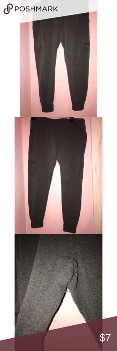 Women's dark grey jogger Dark grey joggers. Pockets on each leg. Missing drawstring and have piling in between the legs as pictured. Size large fit true to size. Zumiez Pants Track Pants & Joggers
