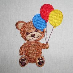 Teddy with balloon machine embroidery www.cyncopia.com