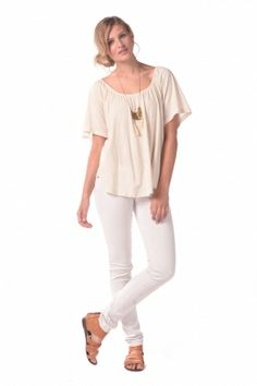 Synergy Organic Clothing | Peasant Top in Cream - Tissue Knit - Shop By Appliqué