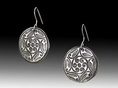 Handcrafted Vintage Button Design White Bronze Disk Earrings with Sterling Silver Earwires