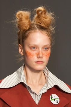 Double buns, freckles and blazers for a schoolgirl look at Vivienne Westwood Red Label Beauty S/S '15