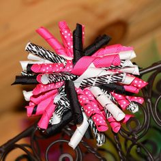 Hot Pink and Zebra Korker Hair Bow by MegansHairCandy on Etsy, $6.00
