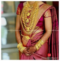 South Indian Wedding Saree, Wedding Silk Saree, Indian Wedding Jewelry, South Indian Bride, Indian Bridal, Bridal Jewellery, Kerala Hindu Bride, Kanjivaram Sarees Silk, Bridal Makeover