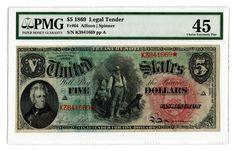 "Lot 18: 1869 U.S. $5 ""Rainbow Woodchopper"" Legal Tender Note"