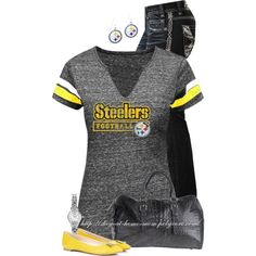 """For Pinner Steeler Fans: """"Steelers Tee & Earrings"""" by stay-at-home-mom on Polyvore"""