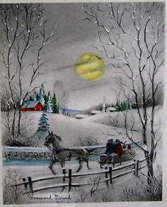 Vintage Christmas Card Homeward Bound Moon People Winter Night Scene Greeting