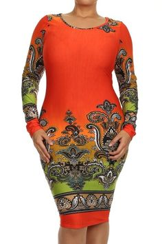 Beautiful body hugging print dress shows curves of confidence. Boat neckline gives structure to the shoulders with mid length to knee for classy style. Material 95% Polyester 5% Spandex