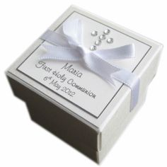 Personalised First Holy Communion Favour Box - handmade with diamante cross design - ribbon and trim in white, pink, blue or silver grey - personalised with child's name and date of their First Holy Communion - invitations to match